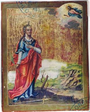 Russian Icon with the rare presentation of St. Barbara