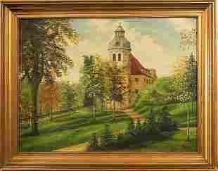 "Kunze, G., ""Church in the Park in Autumn"", framed"
