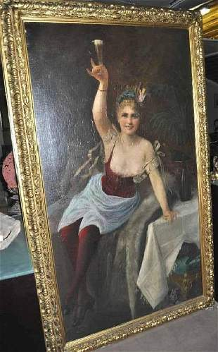"KONRELY, J. ""Champagne Wedding"", Oil on Canvas"
