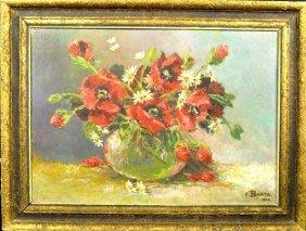 F. BARTA, painting oil / canvas, floral still life, sig