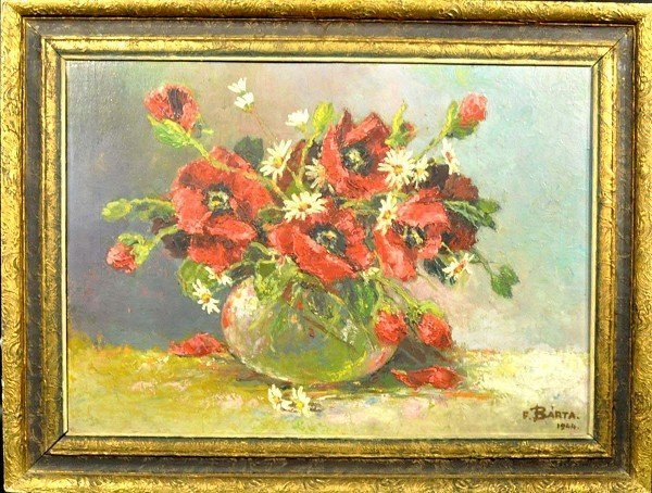 F. BARTA, painting oil / canvas, floral still life, sig