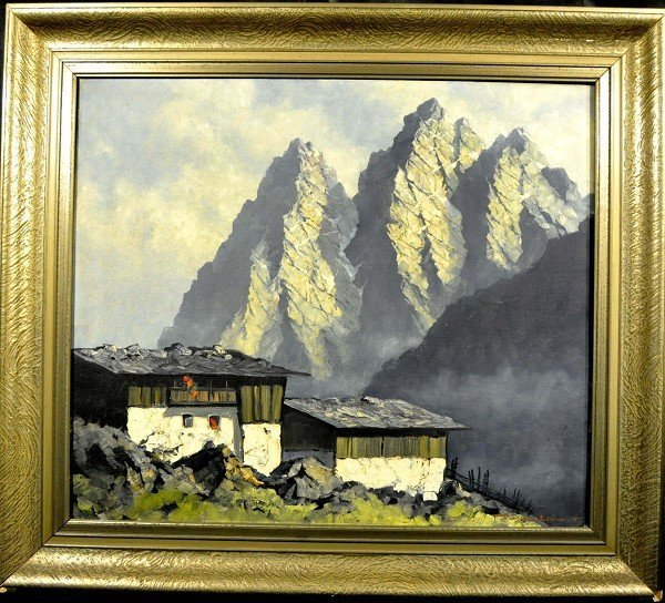 """Mountain farm with mountains in the background,"" impas"
