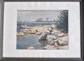 "MUELLER, Hans, Watercolor On Vellum, ""Rocky Coast"""