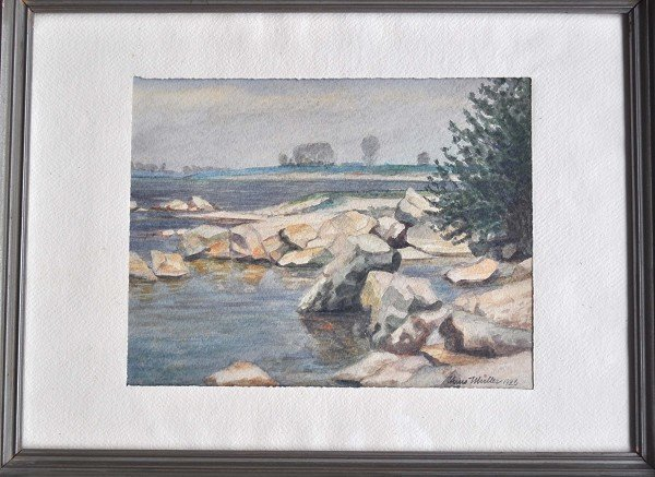 "MUELLER, Hans, watercolor on vellum, ""Rocky Coast"""