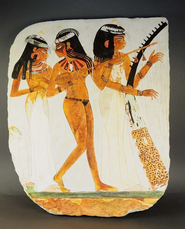 Limestone plateau, Egyptian motif, harp players
