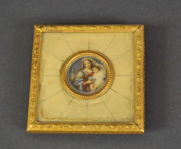 Magnifying glass painting on ivory, Madonna and Child,