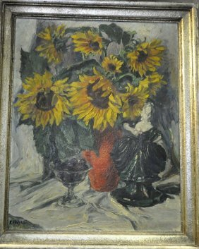 """Hoch K., """"still life sunflowers, plums and character,"""""""