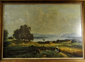"""""""Harvest Time"""", landscape paintings with rich people.."""