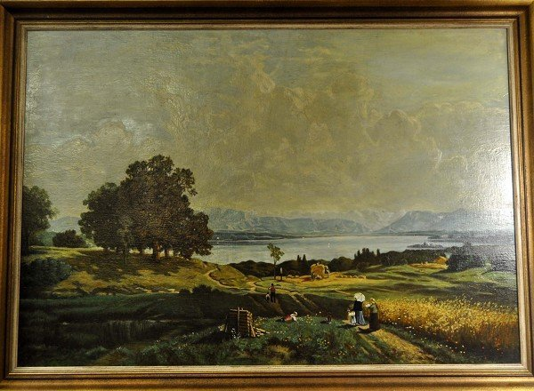 """Harvest Time"", landscape paintings with rich people.."