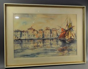 """SCHULZ, H. """"Southern Harbour View"""" watercolor on paper,"""