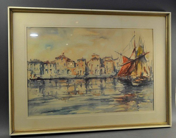 "SCHULZ, H. ""Southern Harbour View"" watercolor on paper,"