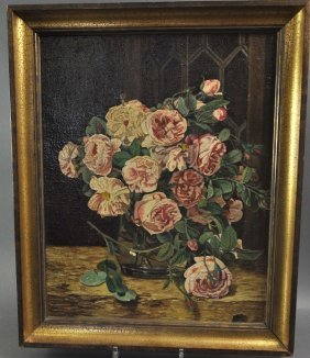 """""""Rose Bouquet In Vase"""", Oil On Canvas, Circa 1930/40, F"""