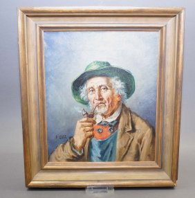 """GOSS, F. """"pipe smokers"""", oil on canvas, framed, signed"""