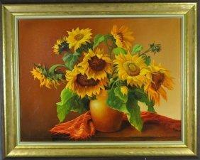 """TOPOLSKA, E., """"Sunflowers"""", Oil On Canvas, Signed Lower"""