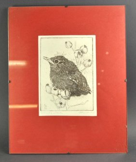 "Lithograph On Vellum, Titled ""Young Bird"" Cuckoo On The"
