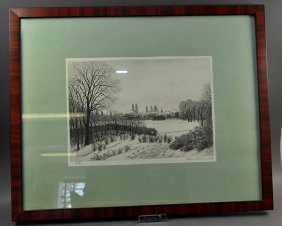 "Lithograph ""Munich In The Winter,"" Fine Work, Signed An"