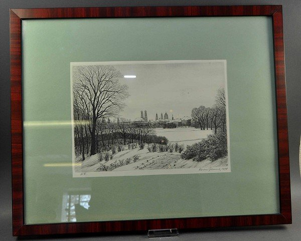 """Lithograph """"Munich in the winter,"""" fine work, signed an"""