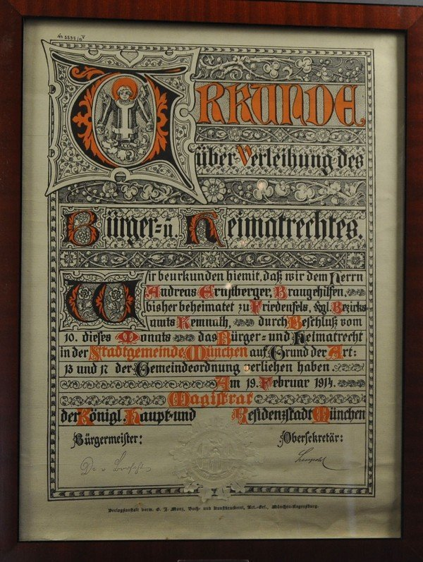 Certificate for the grant of citizenship rights of the