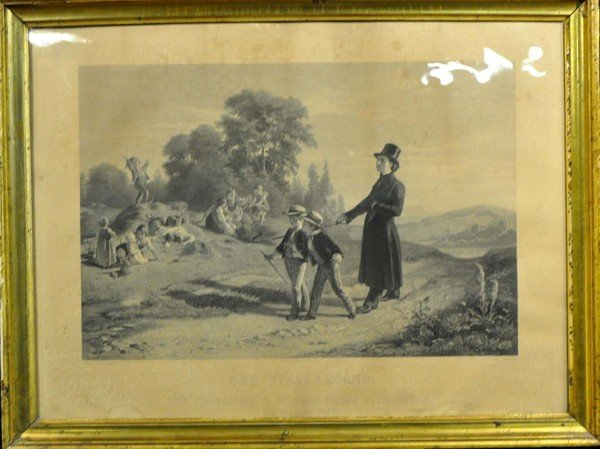 """Old engraving, """"The Sunday walk,"""" engraved after a pain"""