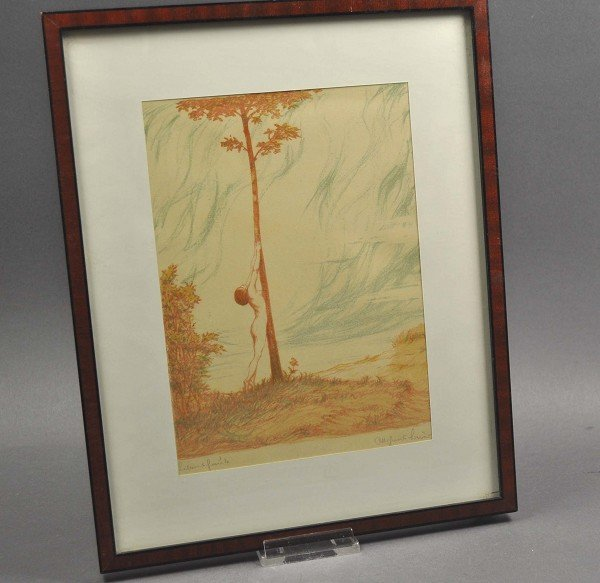 """Color lithograph, """"vitality"""", framed under glass, signe"""