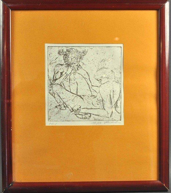 """STAUDACHER (XX), etching """"Pan"""", erotic image on vellum,"""