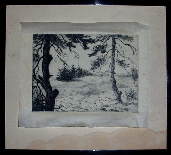 Etching by Max Pyka, AL listed signed and recorded, hig