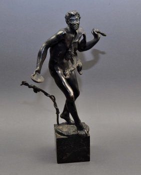 """Bacchus"" Bronze Sculpture, Dancing With Wine Cup And F"