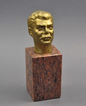 "Metal Bust, ""Stalin"" On A Red Marble Base, Painted With"