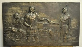 "Bronze Plate, ""Trade And Industry"", Signed, German Circ"
