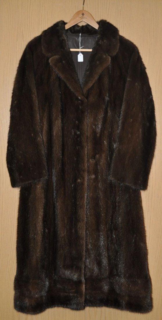 Fine mink coat, dark brown, size 38/40, very good condi