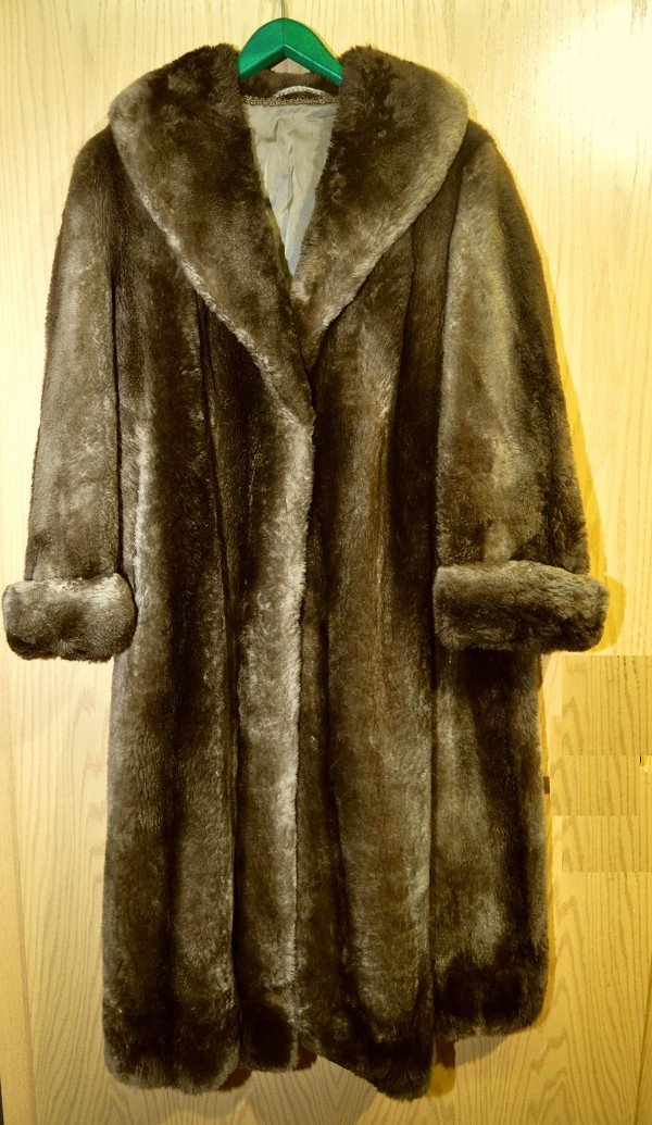 Fur coat, probably sheared nutria, heavy, dense quality