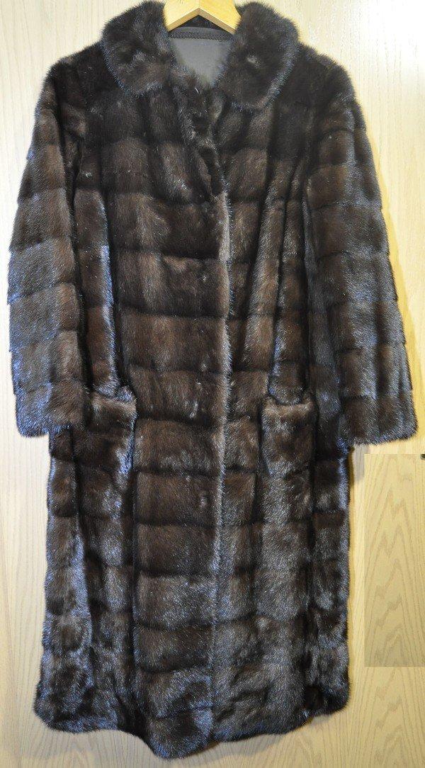 Fine mink coat, continuous uniform backs. Transversely.