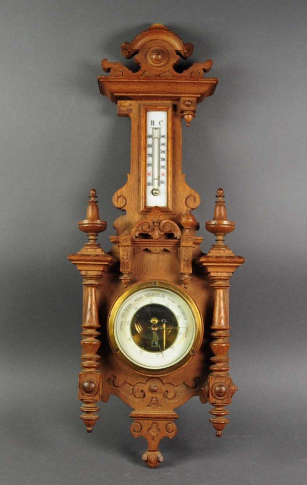 Barometer with thermometer, period, carved walnut fine,