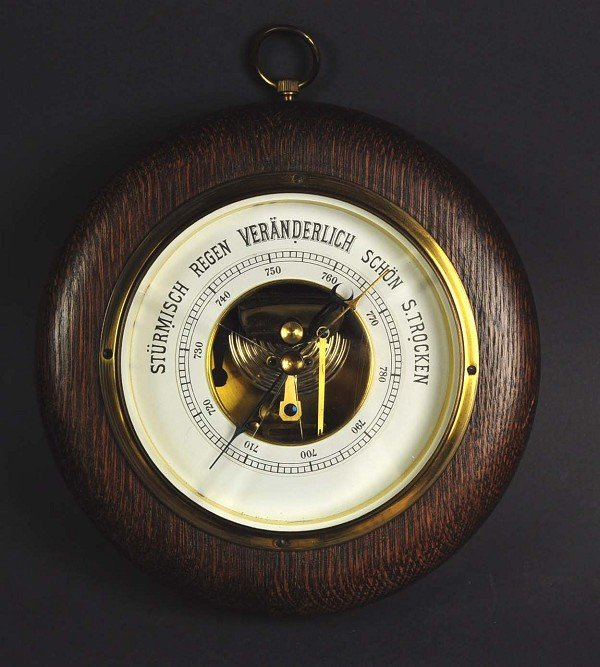 "Barometer, round wood version ""Rodenstock"", nice design"