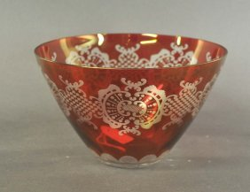 Glass Bowl, Red Gel�stert, With Fine Decorative Touches