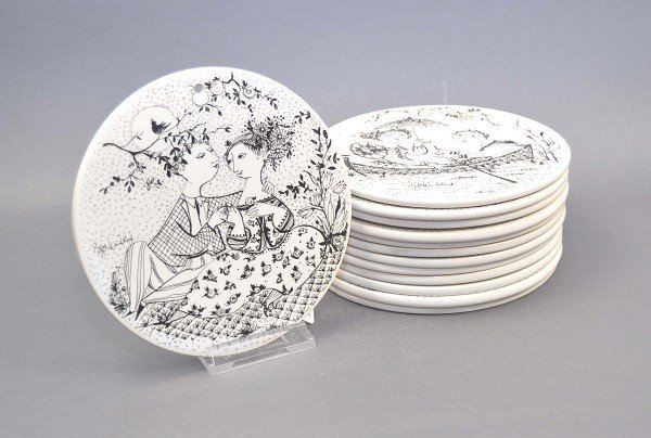 """12 collection wall plates Rosenthal """"The Months"""", desig"""