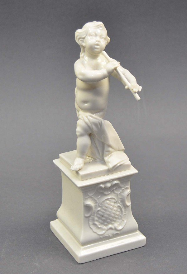 Putto with flute, Nymphenburg, on plinth, standing, whi