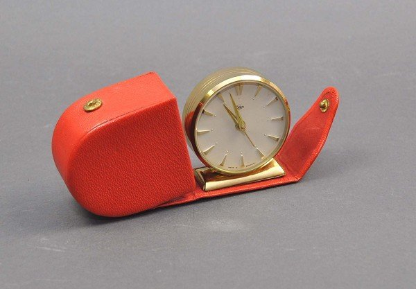 Travel Alarm Clock, Brand EMES in leather case