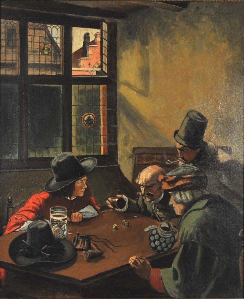 """MEYER, K., Kopist, """"dice player in restaurant"""", oil on"""