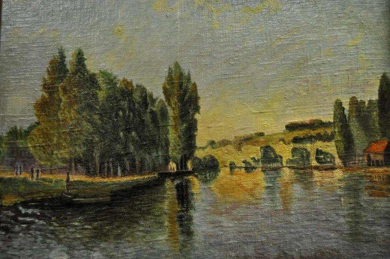 Südländische Landschaft, feiner Malstil, Öl auf Malplat