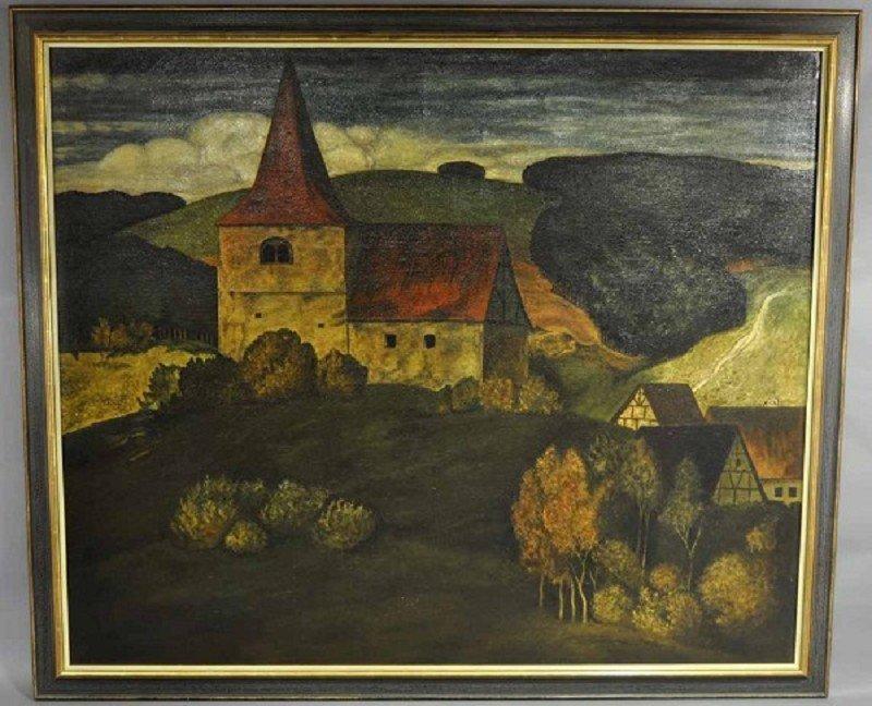 """Gemälde, """"Romanische Kirche"""" ähnlich Sertig/Schweiz, ro"""