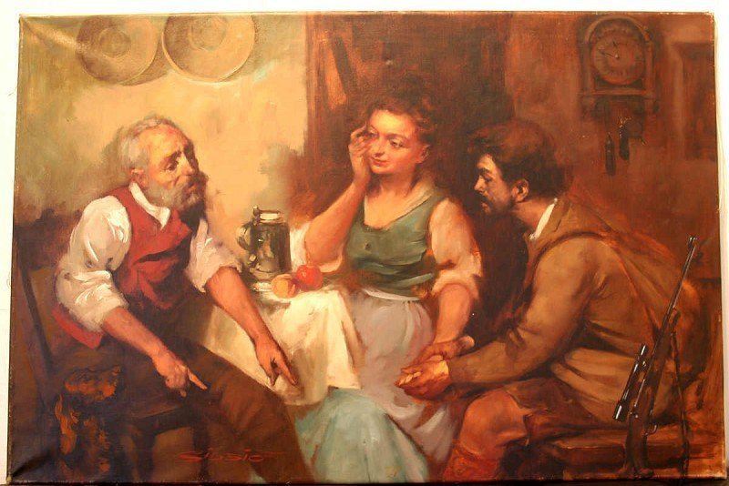 """SIDSIO, """"After the Hunt,"""" oil on canvas,"""