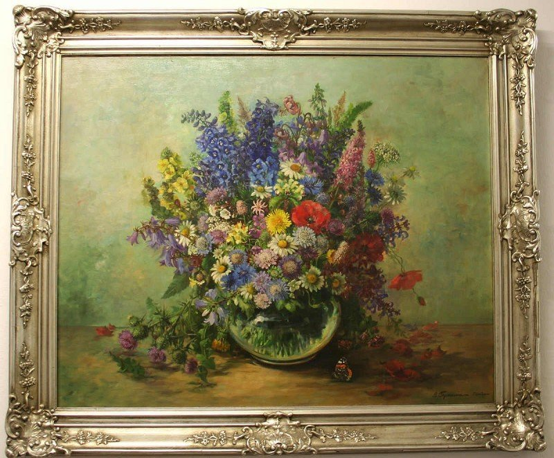 """THOMASSIN, Luise (?-1960) """"Lush Floral Bouquet in Vase"""""""