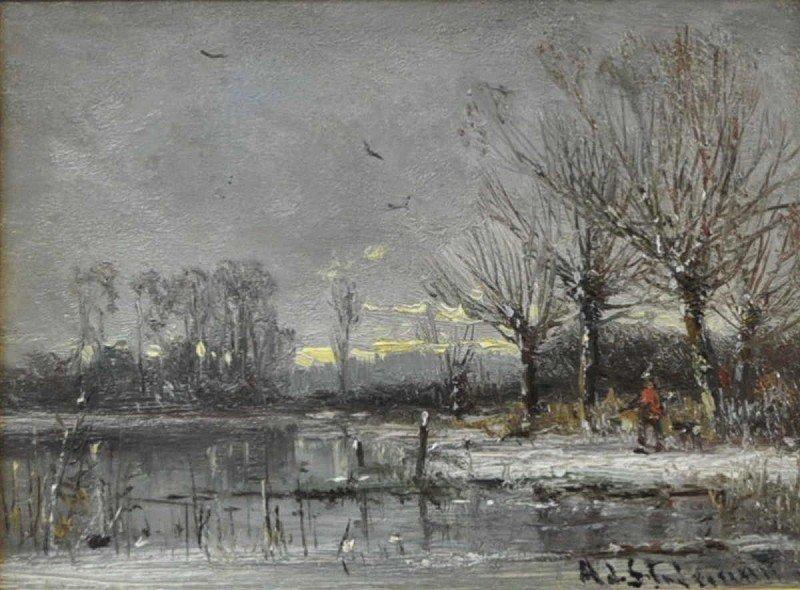 "STADEMANN, Adolf  ""Winterer landscape with hunters"" oil"