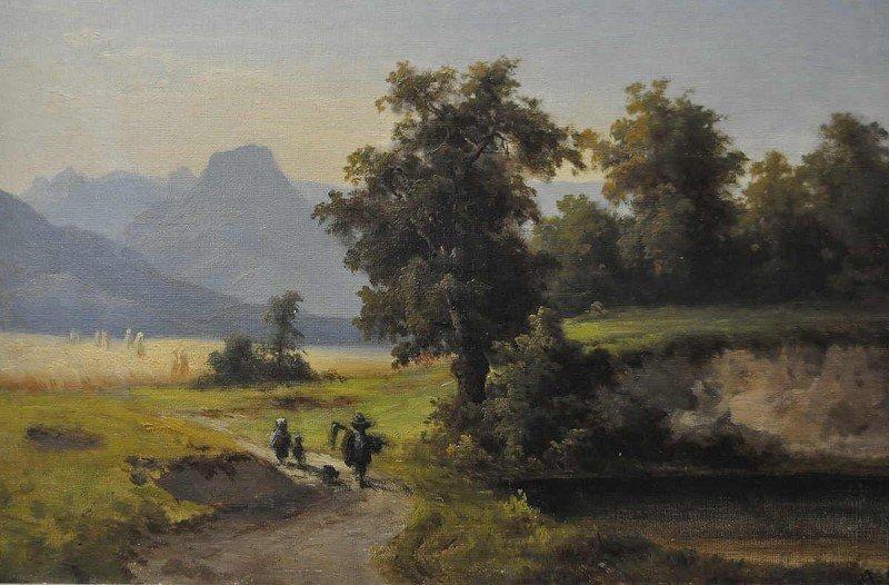 """SEIDEL, August  """"walkers in summer landscape"""", oil"""