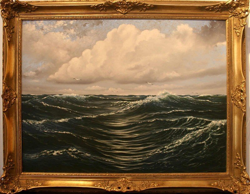 "WENDT, William (1865-1946) ""ocean waves with gulls"" oil"