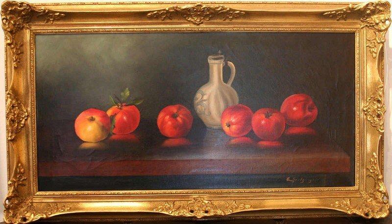 "GOLZINGER, Emil, ""apples and wine jug"""