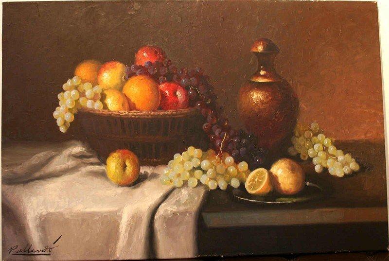 "Pallardo, oil on canvas, ""fruit basket"""