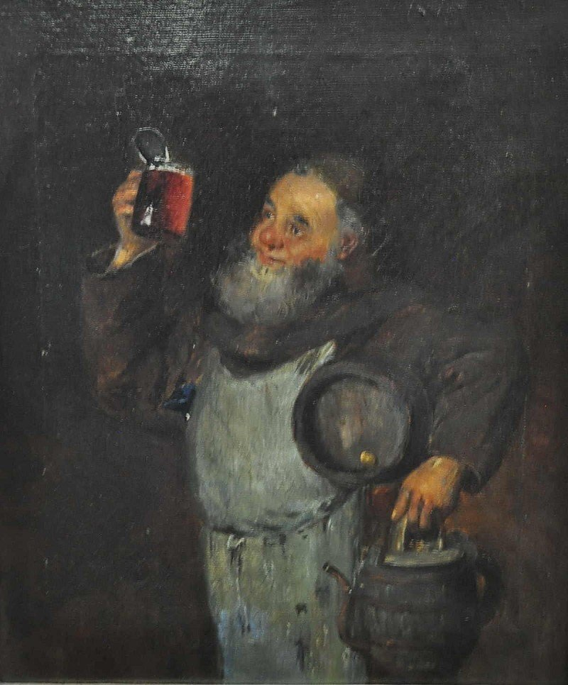 The wine tasters, old masters working oil on canvas