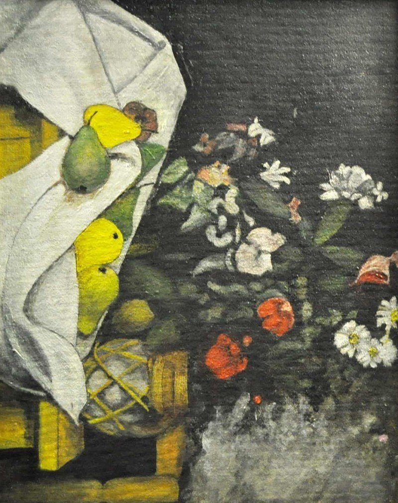 Fruit Still Life with Flowers, Oil on painting board,